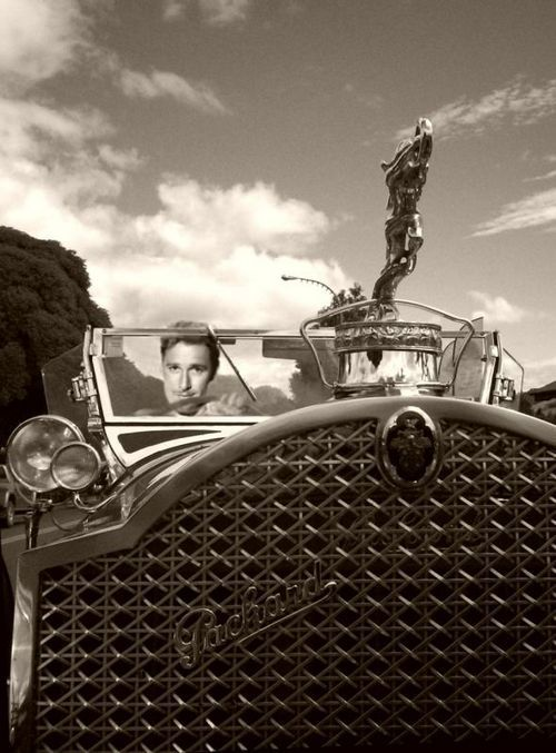 Errol Flynn driving his Packard...