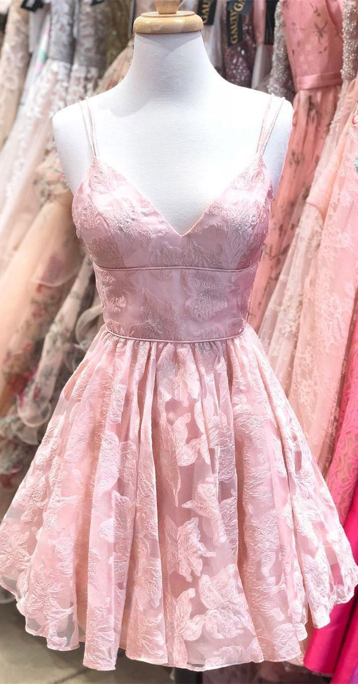 Spaghetti strap pink homecoming dresses jacquard v neck short