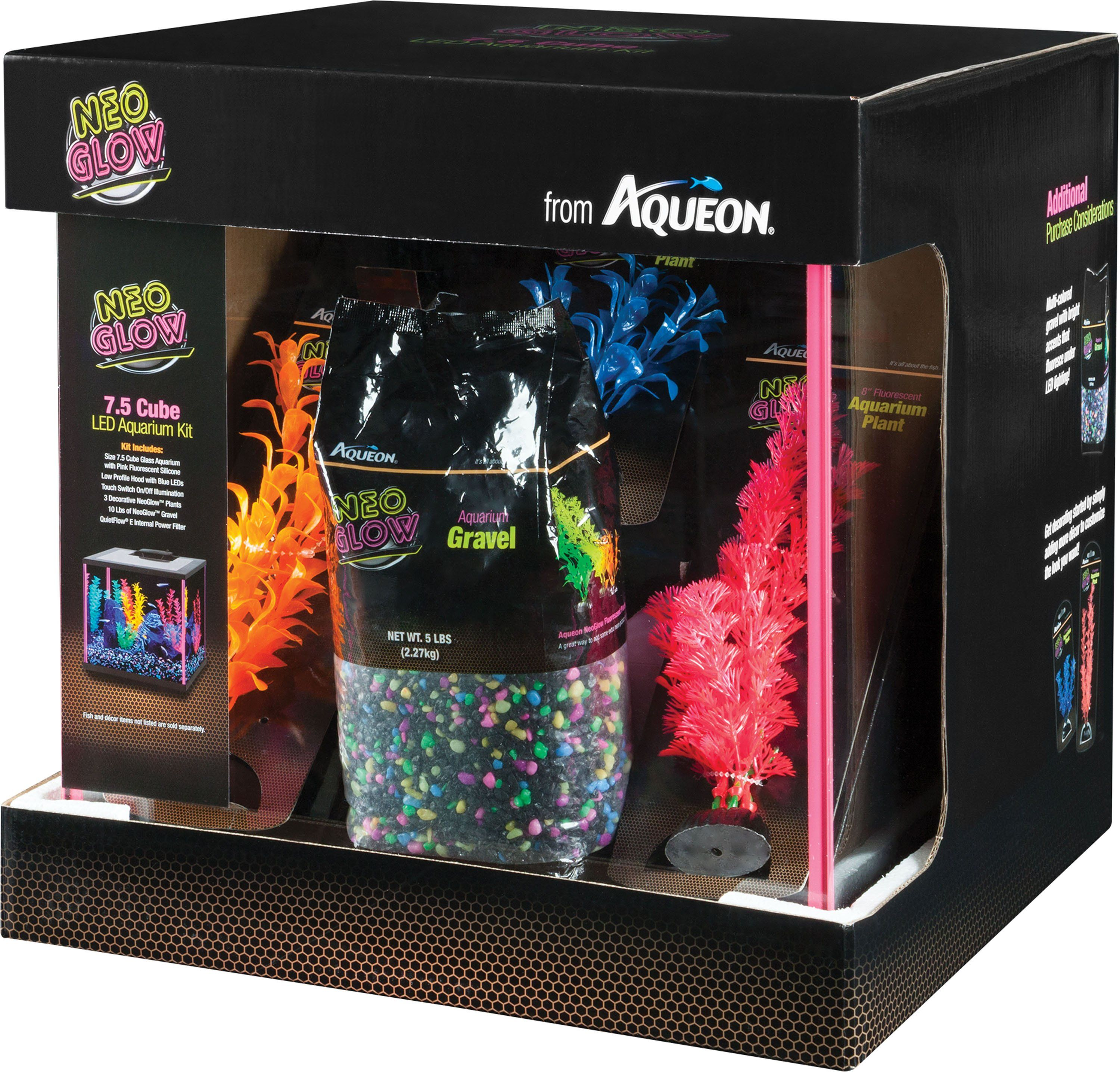 Aqueon Products Glass Aqueon Neoglow Aquarium Kit Cube Pink 7 5