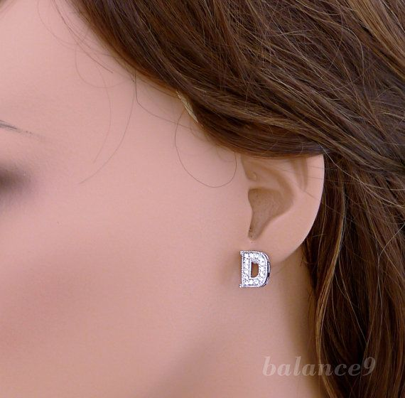 Initial post earrings letter silver rhinestone stud by balance9, $20.00