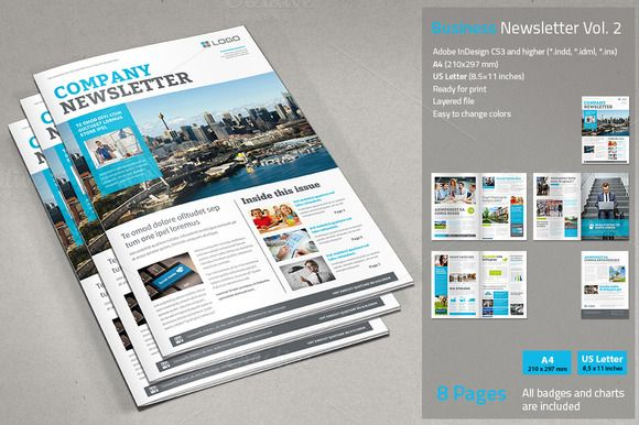 Business Newsletter Vol 2 Business and Adobe indesign - company newsletter