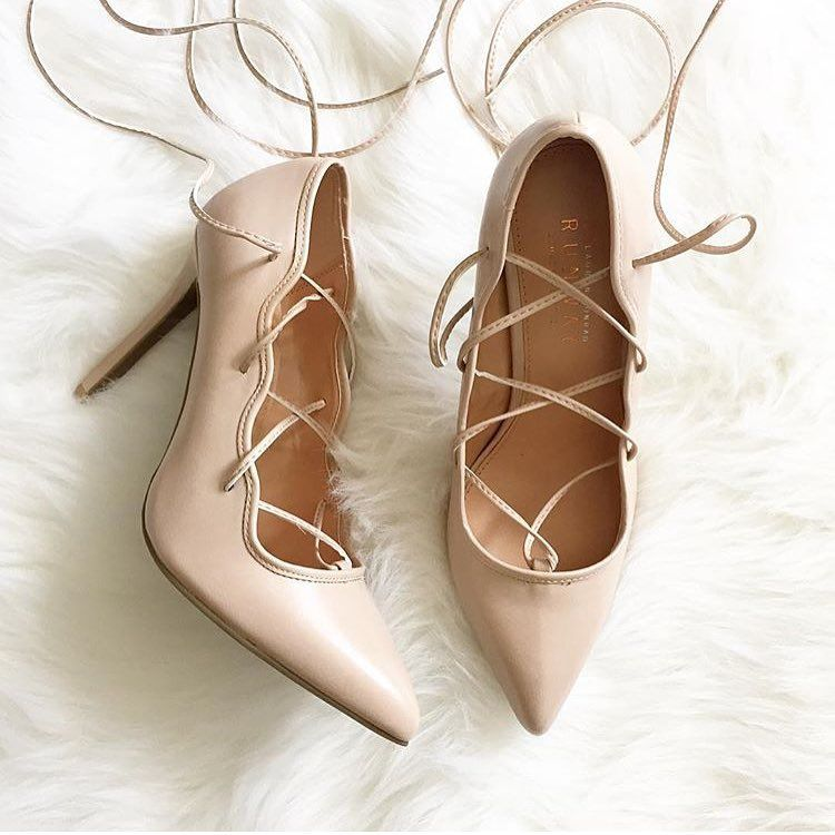 """Love these lace up cream heels  via @fashionfanatic1227"""