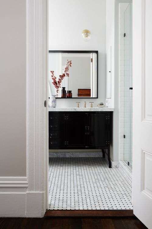 Black Double Bath Vanity With Wilshire Sconce Transitional Bathroom