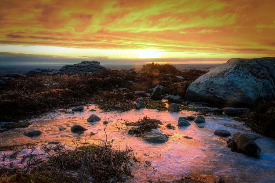 Sunrise over Simonside (Northumberland, UK).