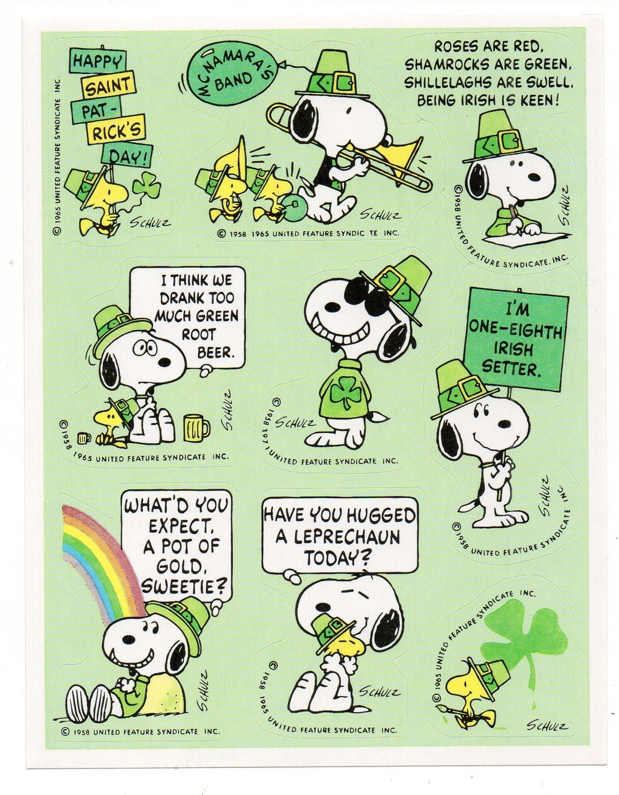 Vintage Hallmark Sticker St Patrick S Day Snoopy Peanuts 1 Sheet Scrapbooking Snoopy And Woodstock St Patricks Day Wallpaper St Patricks Day Quotes