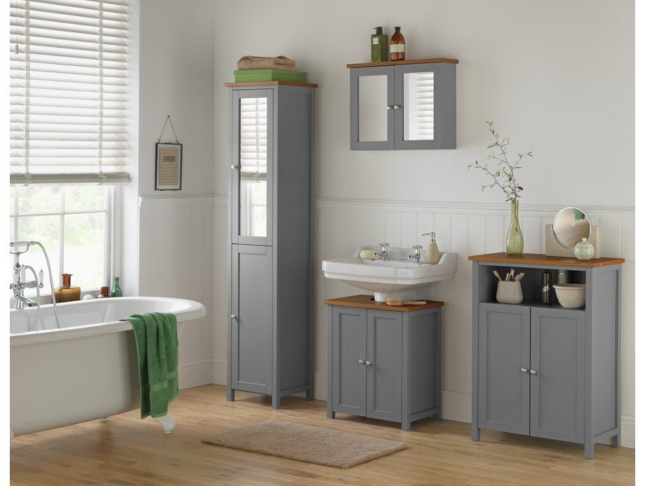Heart Of House Livingston Tall Cabinet Grey Pine At Argos Co