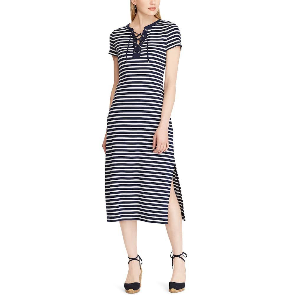 Women S Chaps Lace Up Striped Midi Dress Striped Midi Dress Dresses Midi Dress [ 1000 x 1000 Pixel ]