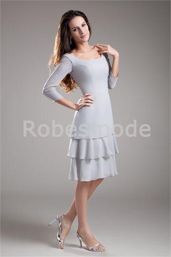 28ed3bef1d1d9 Robe mère de mariée argent mi-longue en mousseline de soie manches à ...