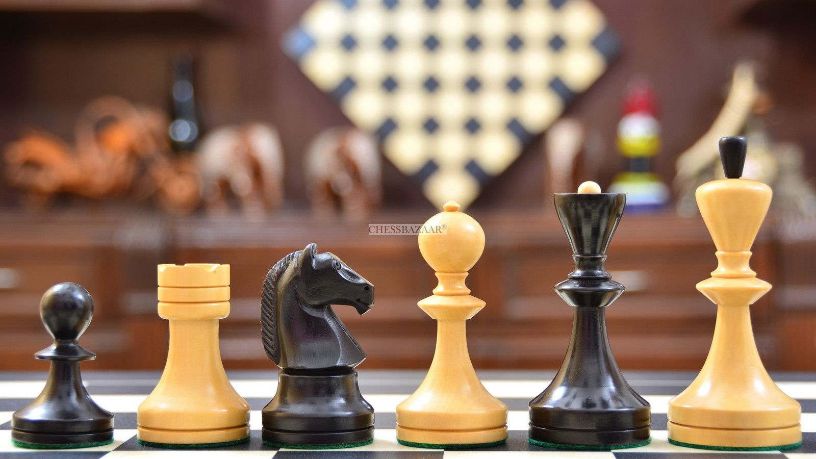 Reproduced Russian Soviet Era Series Chess Pieces In Ebonized Boxwood Natural Boxwood 3 75 Chess Pieces Chess Set Chess