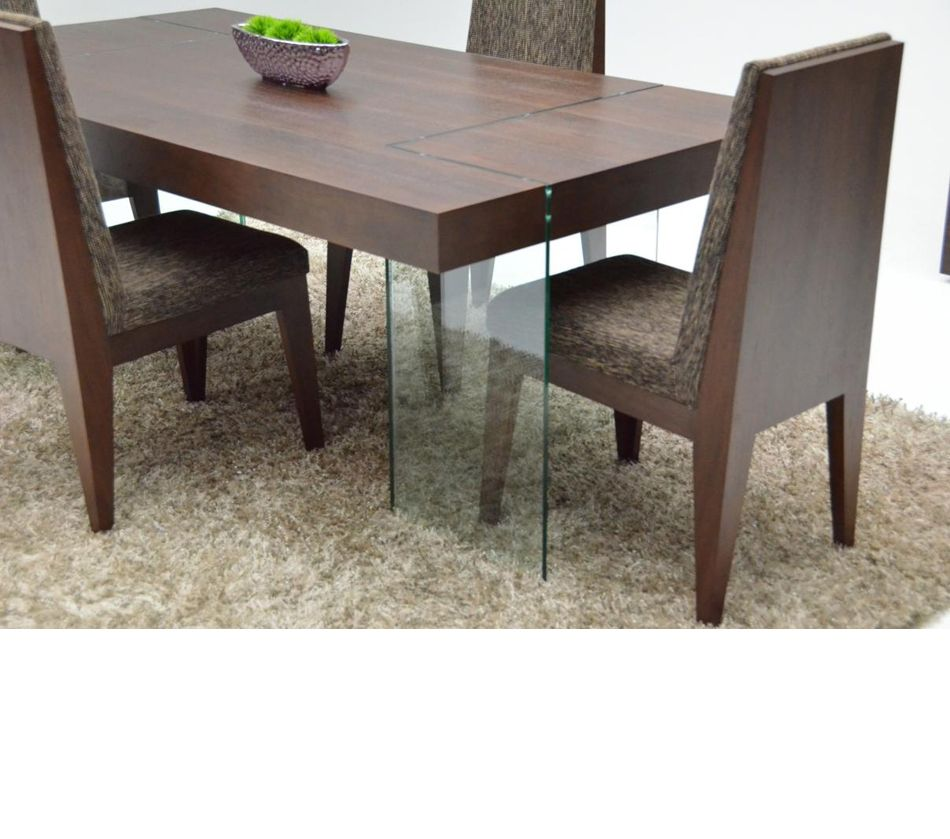 Aura Modern Floating Tobacco Dining Table Dining Table Table