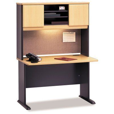 Bush A-Series 48 Inch Desk and Hutch in Savannah Beech and Slate by