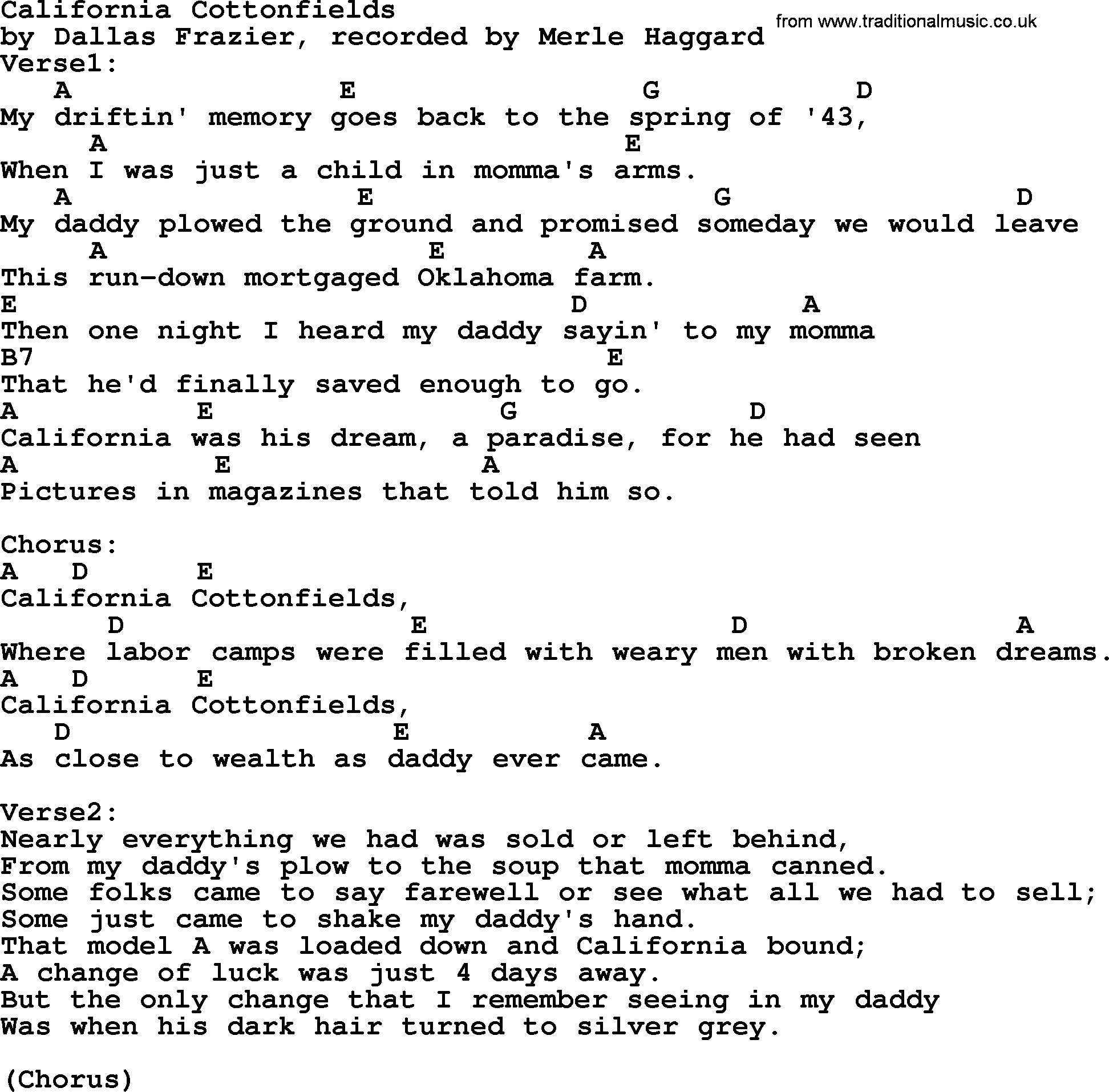 Merle haggard song california cottonfields lyrics and chords merle haggard song california cottonfields lyrics and chords hexwebz Images