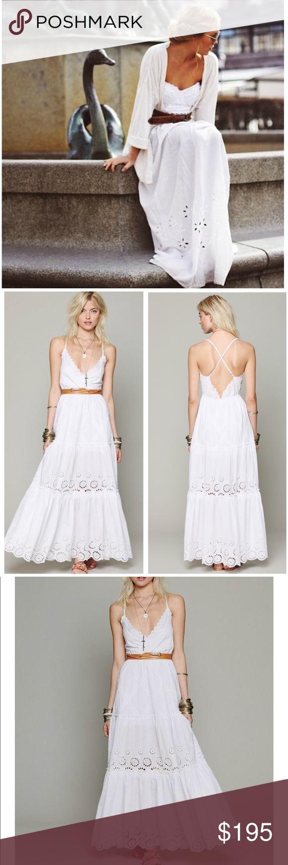 Eyelet wedding dress  FREE PEOPLE OPHELIA MAXI DRESS white eyelet M LONG  My Posh Picks