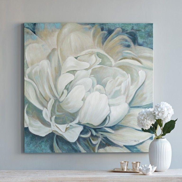White Peony Acrylic On Canvas Zhivopis Smeshannoj Tehnikoj