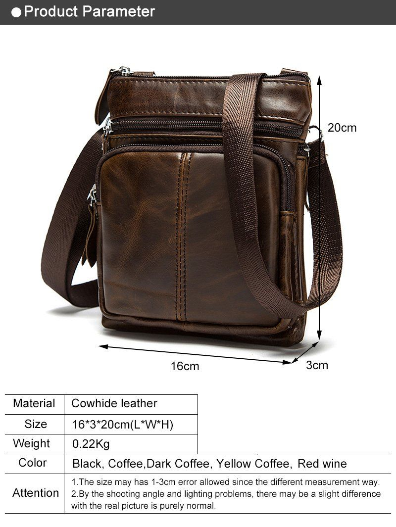 7e9c04e3a92c Men s Messenger Bag 100% Leather Small Shoulder Bag Crossbody Bag For Men  Natural Cowhide Leather With Phone Pouch and External Pocket