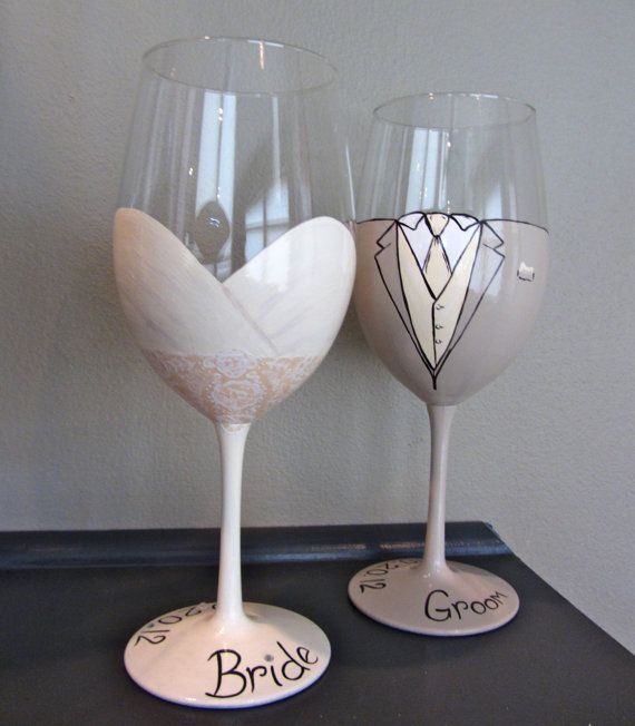Bride And Groom Personalized Wine Glasses Diy Crafts