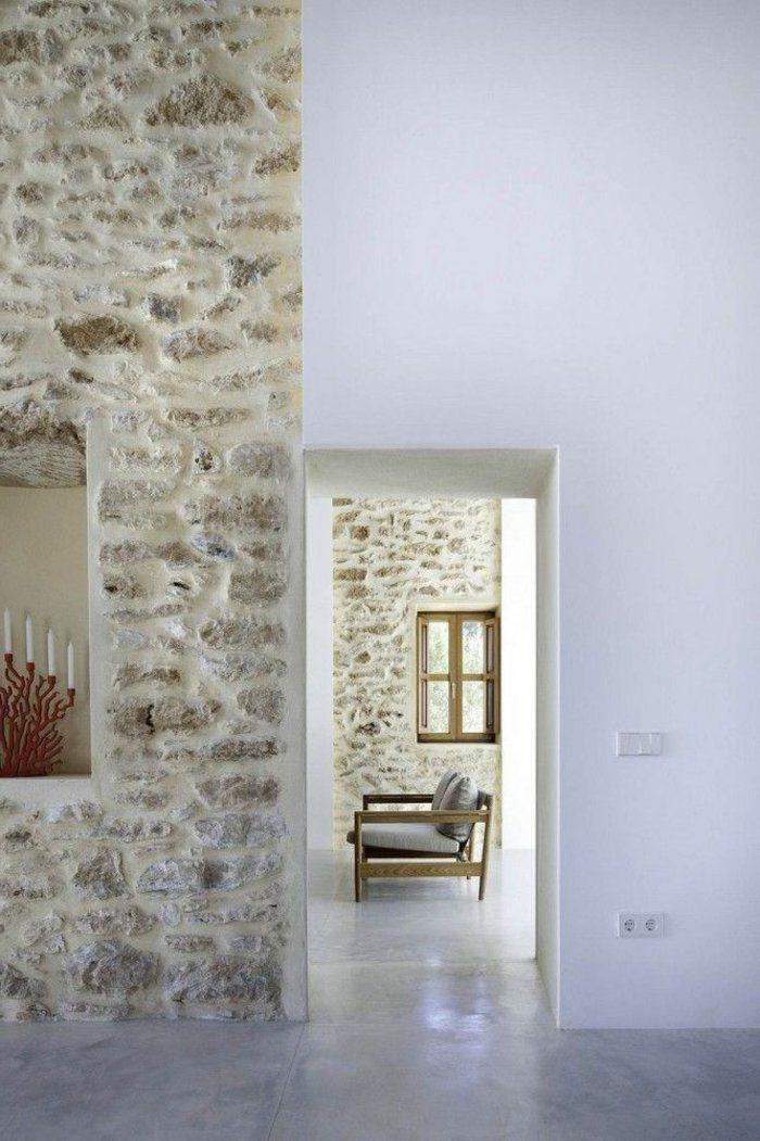 Le mur en pierre apparente en 57 photos! Salons, Construction and - poutre pour mur porteur