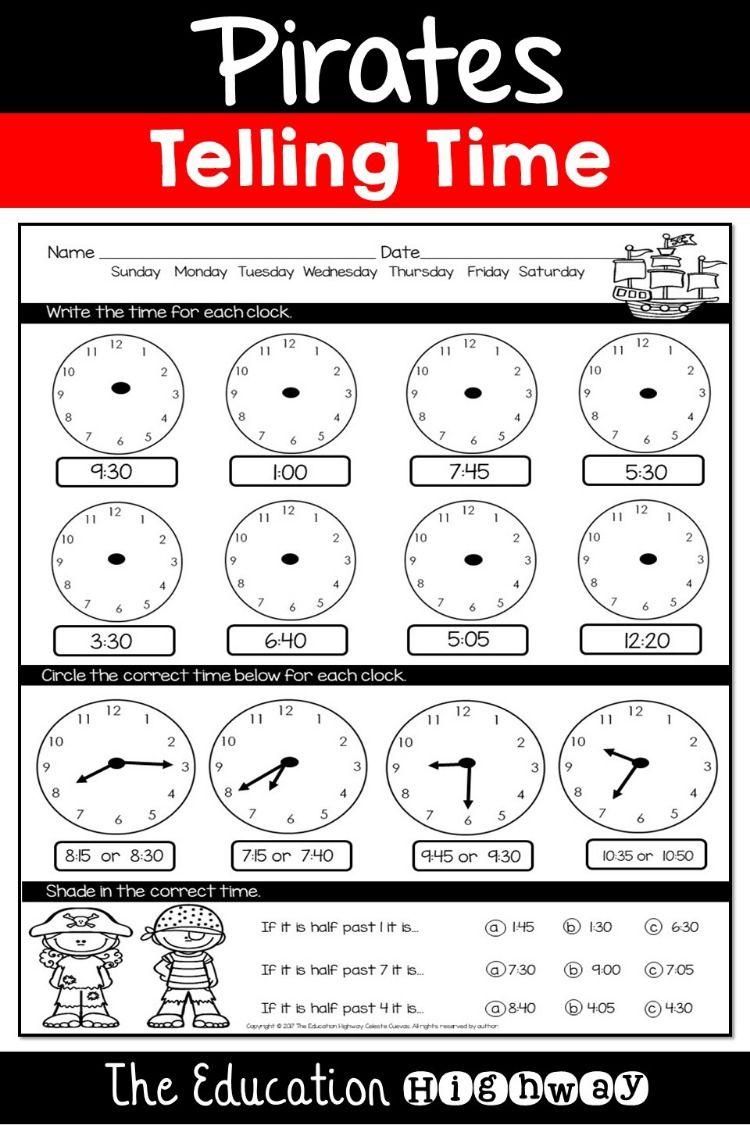 Pirates Clocks Printables Centers Teaching Printables Teachers Pay Teachers Seller Co Teaching [ 1125 x 750 Pixel ]