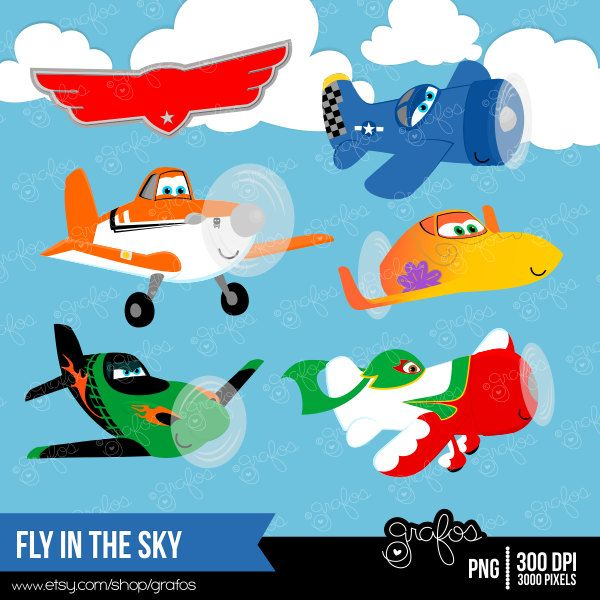 Fly In The Sky Digital Clipart Airplanes Clipart Planes By Grafos