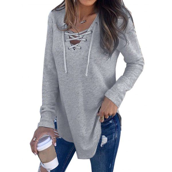 Wholesale Womens V Neck Long Sleeve Loose Casual Knit