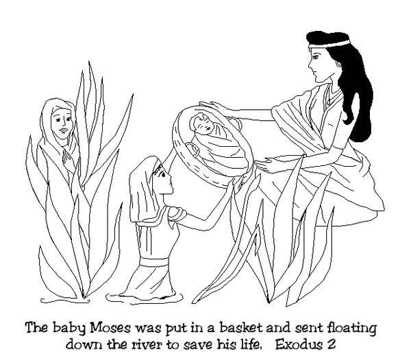 baby moses was found after floating down on nile river coloring page - Baby Moses Coloring Page Printable