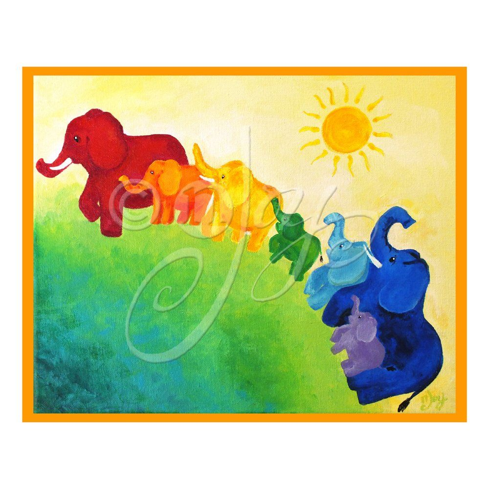 Elephant Rainbow, 10x8 inch print of nJoyArt original painting. An ...