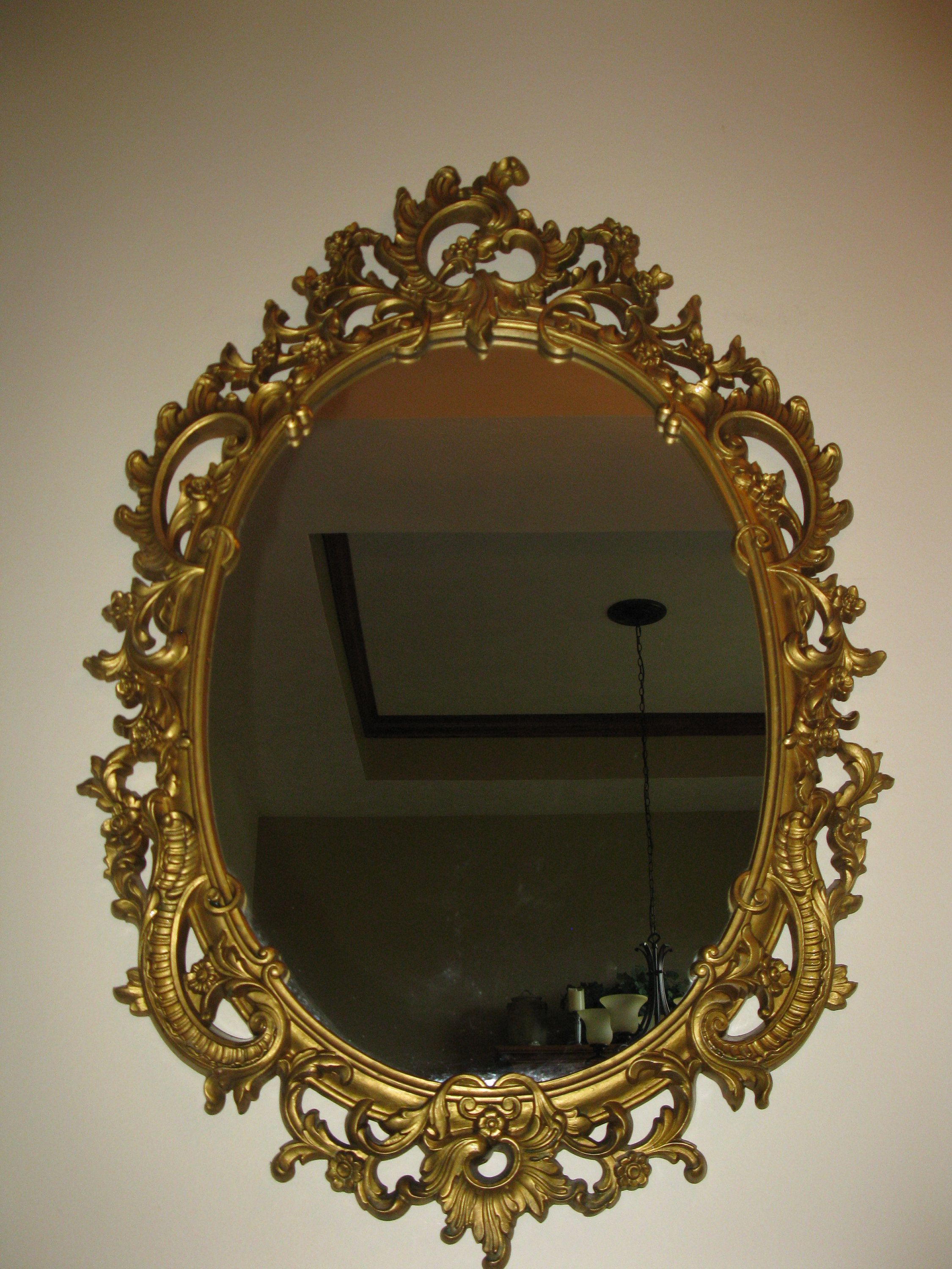 """Vintage Oval Wall Mirror Ornate Floral Frame 33/"""" x 20/"""" Made in USA"""