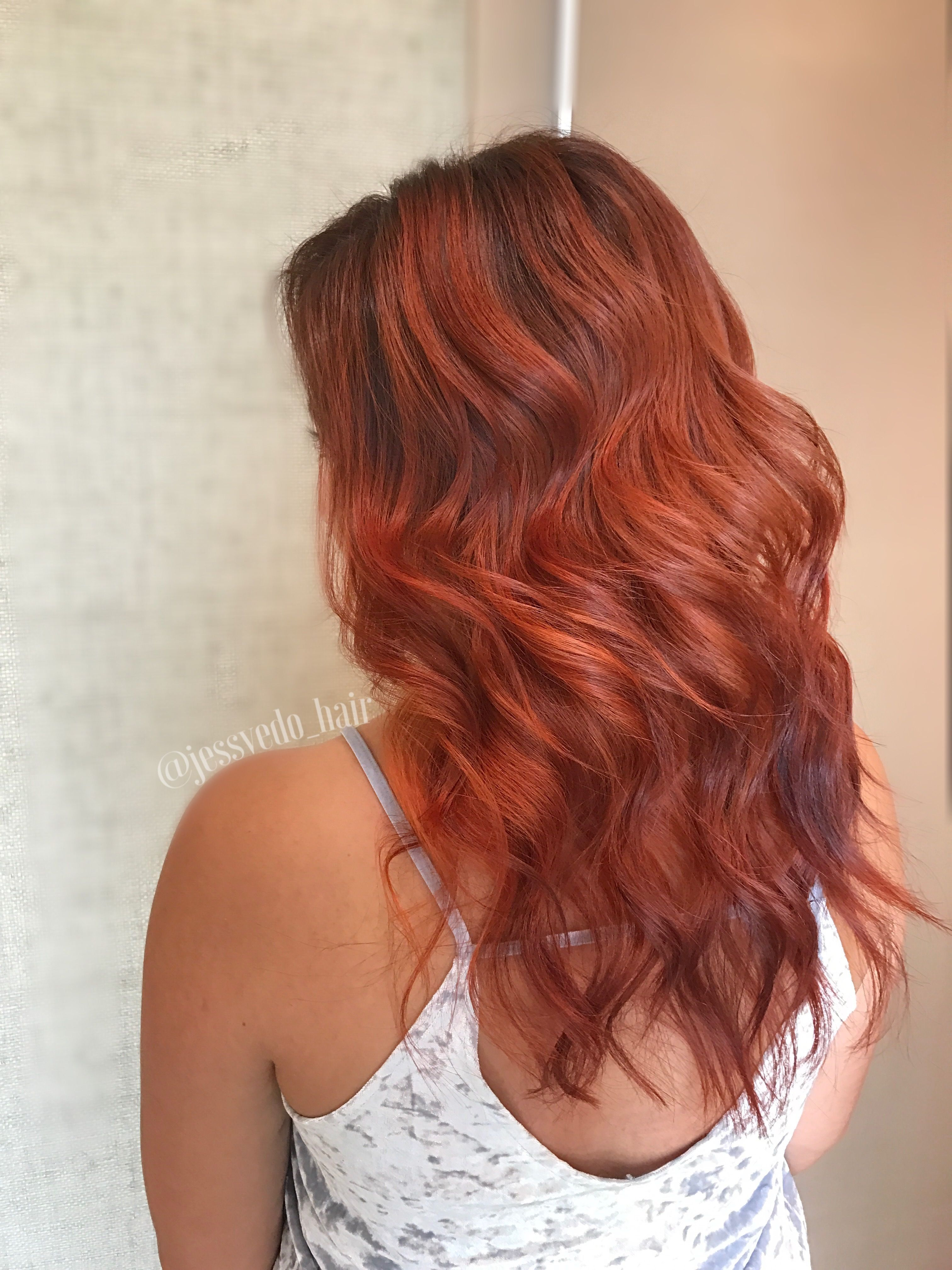 FALL 2017 copper ombré hair with a dark brown root! Curled