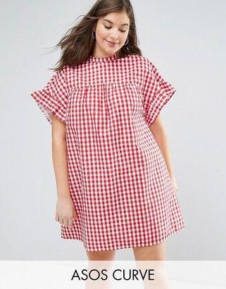Asos Curve Asos Curve Red Gingham Smock Dress Dresses Plus Size