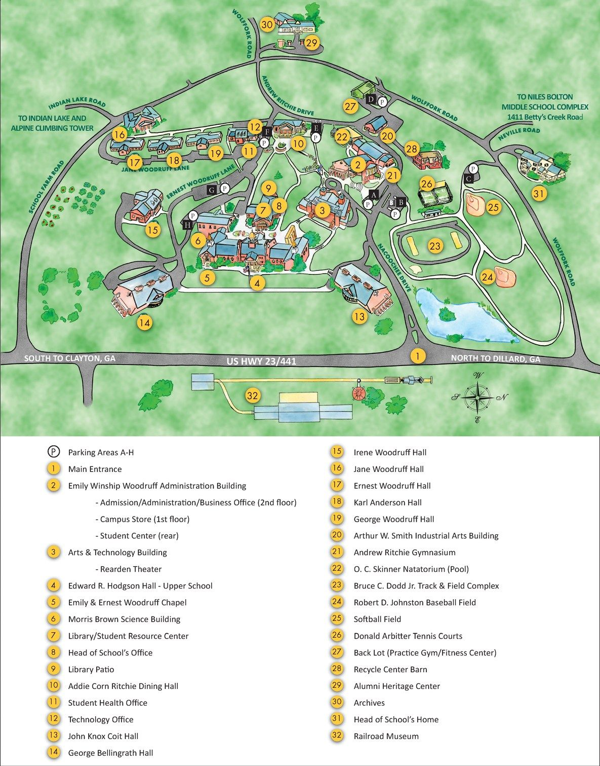 Rabun Gap Nacoochee School Campus Map High School Art School