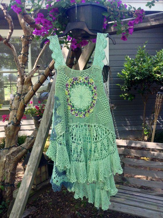 Luv Lucy Crochet Tunic Short Dress Debra's by LuvLucyArtToWear