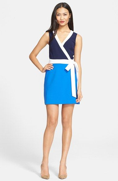 Bright White Trim And Two Shades Of Blue Highlight The Universally Flattering Silhouette Diane Von Furstenberg S Iconic Wrap Dress