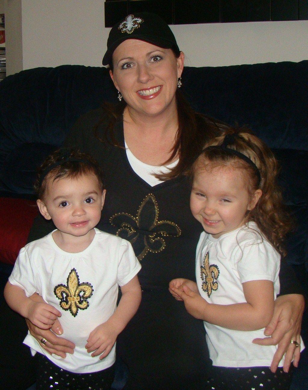 fleur de lis shirts & matching hat - GO Saints! (painted with fabric paint)