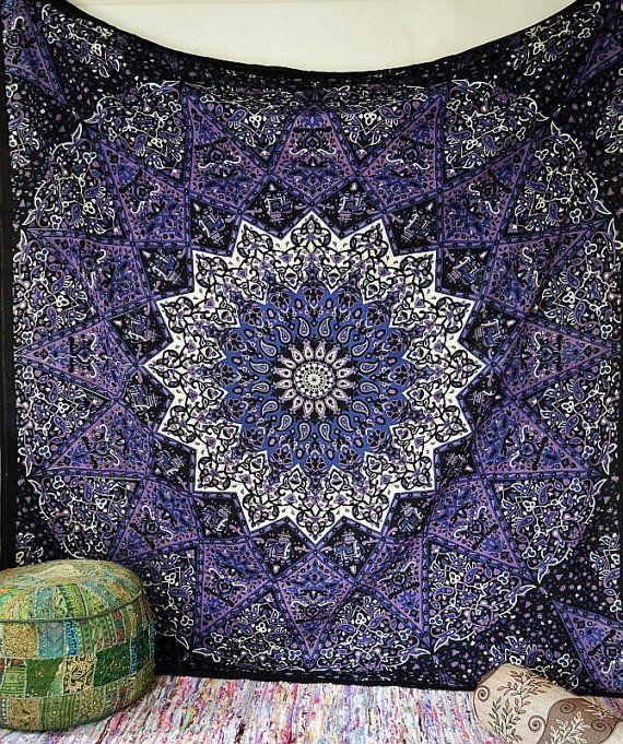 Bleu psych d lique hippie du tenture murale tapisserie de mandala toile boh me literie couvre - Decoration chambre psychedelique ...