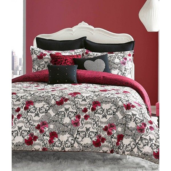 Betsey Johnson Rock Out Rose Skull Scroll Comforter Mini Set 70 Liked On Polyvore Featuring Home Decor