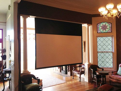 Superior We Could Always Install A Projector Screen In The Family Room In Front Of  The Fireplace That Was Retractable.