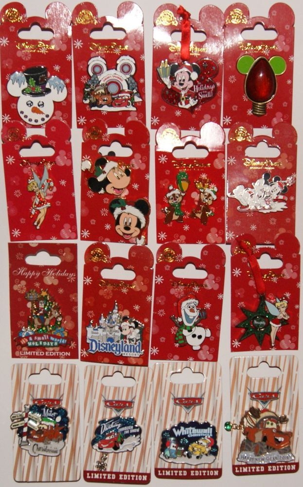 DISNEY CHRISTMAS HOLIDAY 16 PIN LOT FROZEN OLAF CARS TOY STORY CHIP DALE TINK LE