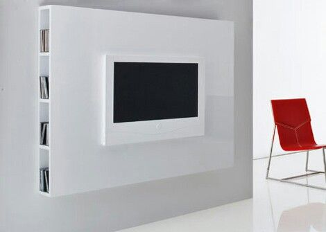 Wall mounted white TV stand.... Contemporary | Furnishings and etc ...