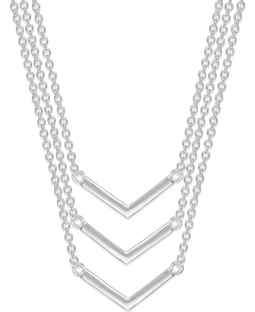 Lauren Ralph Lauren Silver-Tone Three Row V-Shaped Layered Pendant Necklace