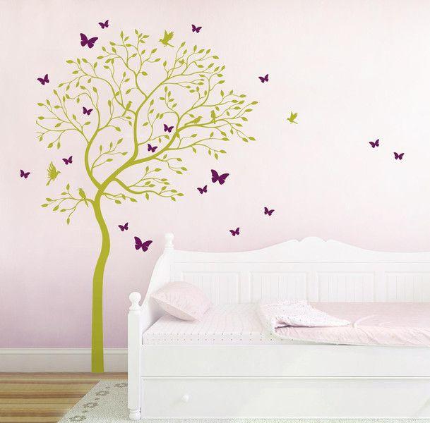 wandtattoo baum v gel schmetterlinge kolibri m1535 von ilkaparey via kinderzimmer. Black Bedroom Furniture Sets. Home Design Ideas