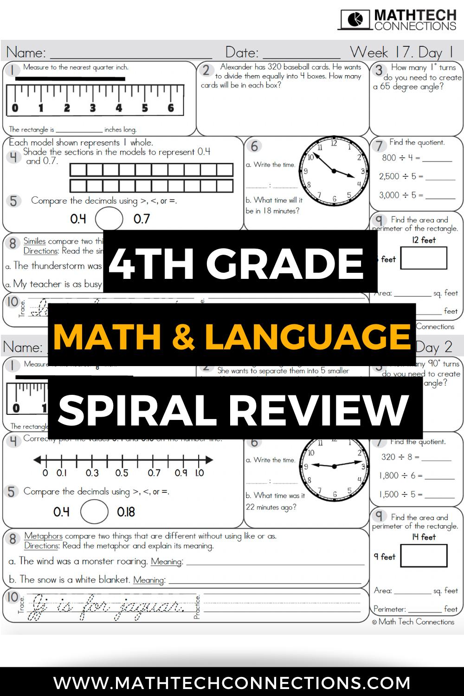hight resolution of Spiral Review Bundles   Math spiral review