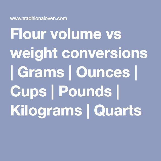 Flour Volume Vs Weight Conversions