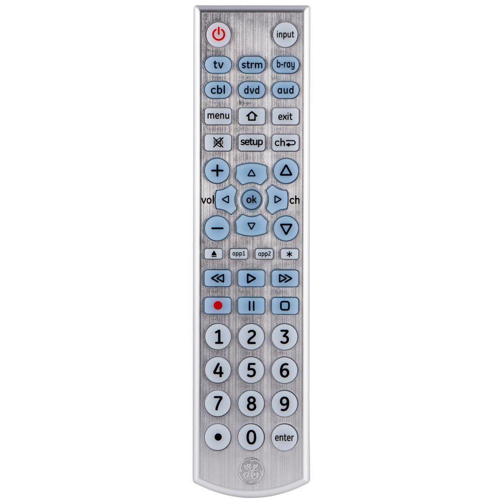 Ge 6 Device Universal Remote Control Backlit Big Button Silver