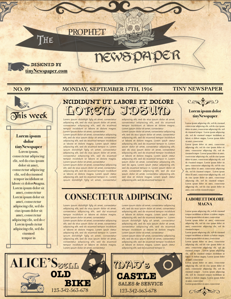 Editable Newspaper Template inside Old Newspaper Template