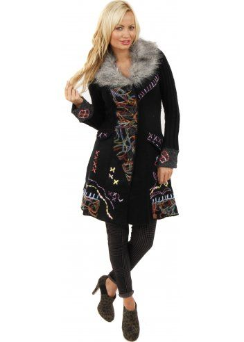 Stella Morgan Faux Fur Collar Black Tapestry Wool Cardigan Coat ... 53330cd78