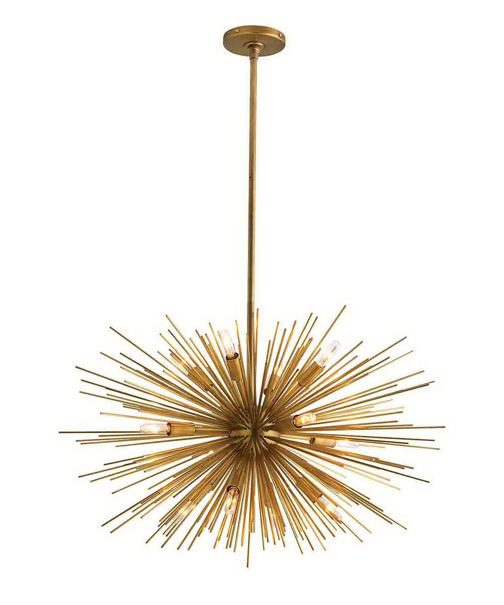 Zanadoo Small Chandelier H Dia Modern Sphere Shaped Starburst Motif Iron In Antique Brass Finish Includes Cylindrical Ceiling Mount And