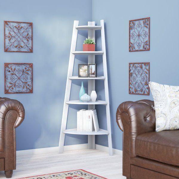 Tisha Corner Bookcase Corner Bookshelves Wooden Living Room