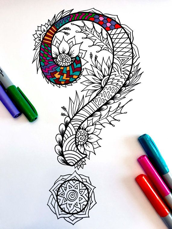 85x11 PDF Coloring Page Of The Question Mark