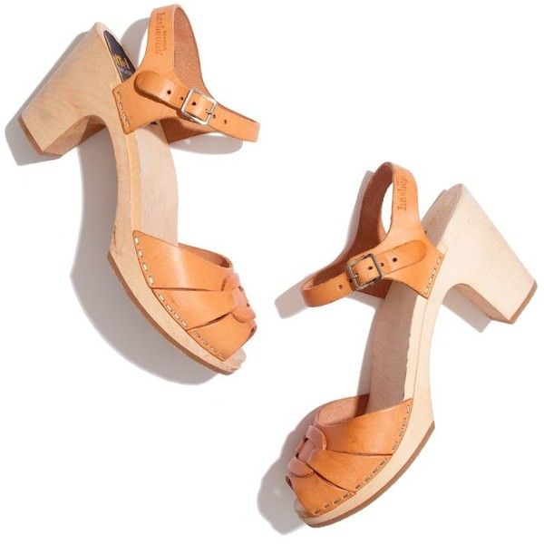 MADEWELL Swedish Hasbeens® Peep-Toe Super-High Clogs ($219) ❤ liked on Polyvore