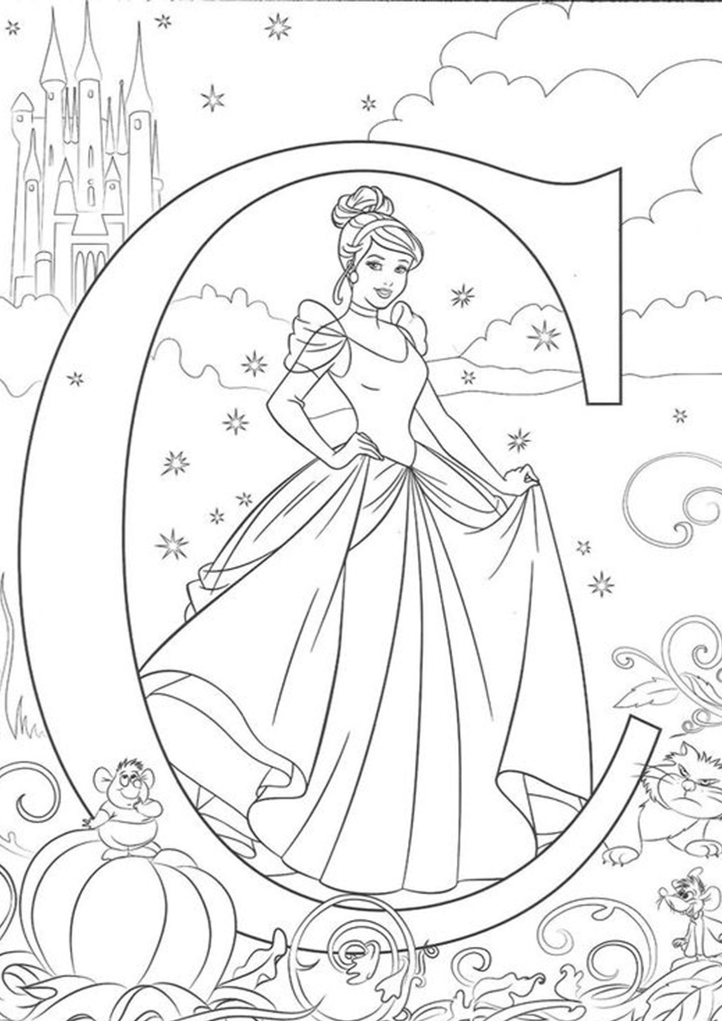Free Printable Cinderella Coloring Pages In